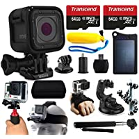 GoPro HERO5 Session HD Action Camera (CHDHS-501) + 128GB Essetial Accessories Bundle includes Solar Charger + Stabilizer + Head Strap + Car Mount + Selfie Stick + Travel Case + Car Charger + More!