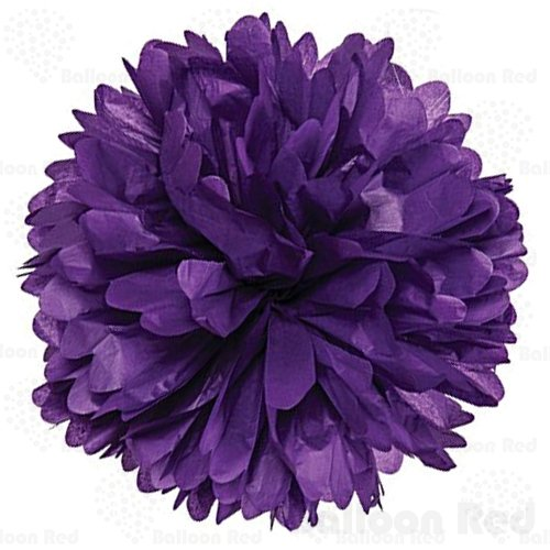 18 Inch Tissue Paper Flower Pom Poms, Pack of 5, Purple