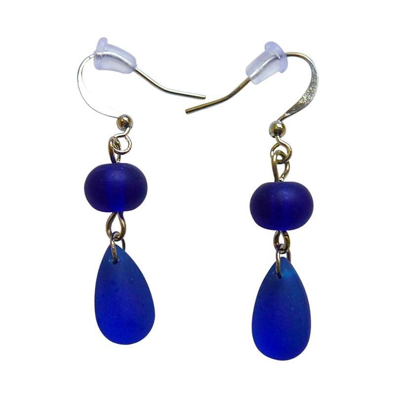 Marine Blue Sea Glass Small Earrings 0.7 Inch Nautical Seaglass Ocean Hawaiian Beach Handmade Mermaid Tears Jewelry for Women and Girls Gift Under 20 Dollars