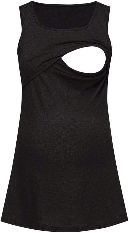 Iusun Womens Maternity Vest Tops Solid Sleeveless Plus Size T-Shirt Mom Comfy Nursing Breastfeeding Pregnants Summer Cloth