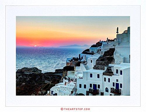 The Art Stop Photo Scenic Sunset OIA Santorini Greece Buildings Framed Print - Art Framed Oia Greece Santorini