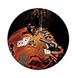Polyester Round Tablecloth,Western,Gambler Holding a Revolver Gun Poker Cards Table Drinks Cigars Dark Saloon Decorative,Orange Brown Black,Dining Room Kitchen Picnic Table Cloth Cover,for Outdoor In