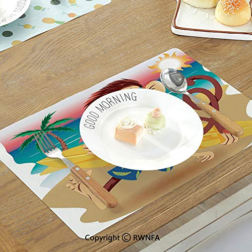 SfeatruMAT Printing Customized Table Mat Farm House Decor Monochrome Vintage Local Iris Pub Rustic Door with Warning Phrase Culture Photo Non-Slip Heat Resistant Decor Placemat Teal