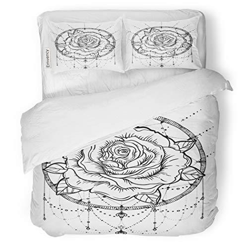 SanChic Duvet Cover Set Dream Catcher Rose Flower Detailed White Blackwork Tattoo Decorative Bedding Set with 2 Pillow Cases King Size