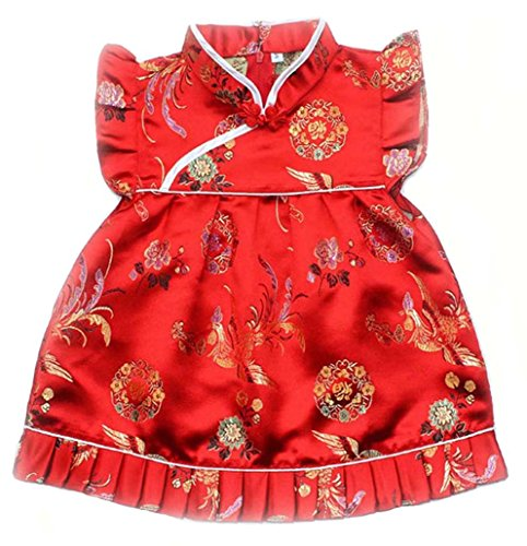 Baby Toddler Boy Girls Qipao Chinese New Years 2016 Asian Costume Set Outfit (2 to 3 Years Old, Chinese Bird and Circles)