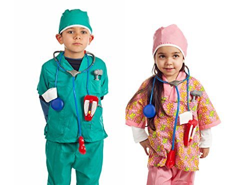 A And E Nurse Costume (Dress up Doctor & Nurse Set of 2 costumes with 14 accessories)