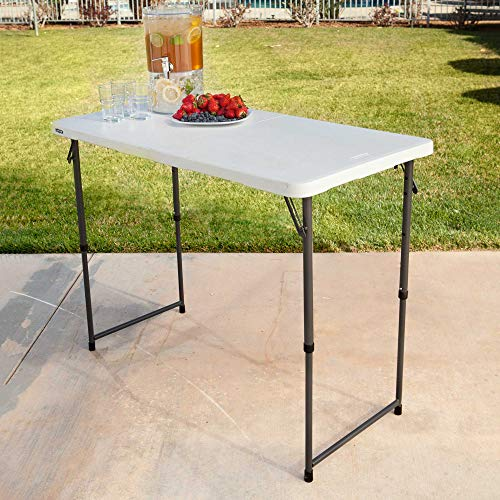 Lifetime 4428 Height Adjustable Craft Camping and Utility Folding Table, 4 ft, 4'/48 x 24, White Granite