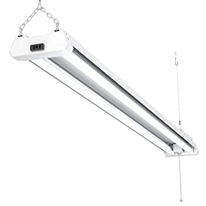 Sunco Lighting LED Utility Shop Light, 4 FT, Linkable Integrated Fixture, 40W=260W, 5000K Daylight, 4100 LM, Frosted Lens, Surface/Suspension Mount, Pull Chain, Garage - ETL, Energy Star