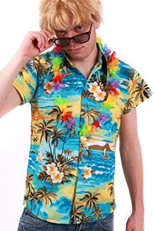 Camisa hawaiana de colour turquesa para Hombre Talla L camiseta de manga corta camisa de disfraz de hawaiana y fiestas en la playa de la playa de la camisa: Amazon.es: Juguetes y