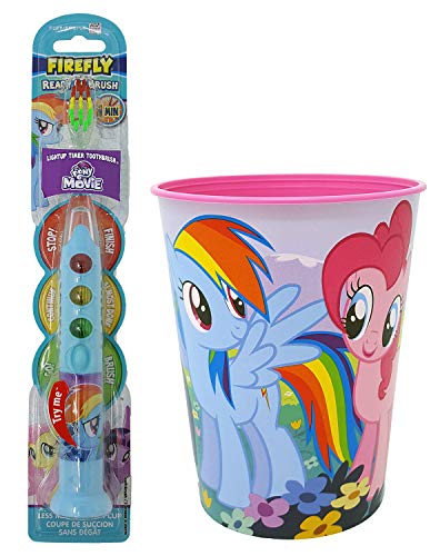 My Little Pony Rainbow Dash Toothbrush Dental Kit: 2 Items - Firefly Ready Go Toothbrush, My Little Pony Character Rinse Cup ()