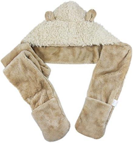 Childrens 3 In 1 Hat Gloves Scarf Set Winter Warm Cartoon Plush Hoodie Gloves Pocket Earflap Hat Long Scarf Shawl Wraps