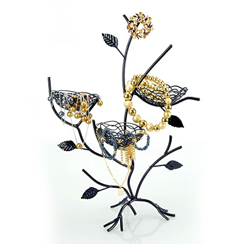 Geff House Bird Nest Jewelry Tree Organizer Display for Necklace, Bracelets, Earrings & Rings (Black) - Masterpiece Jewelry Armoire