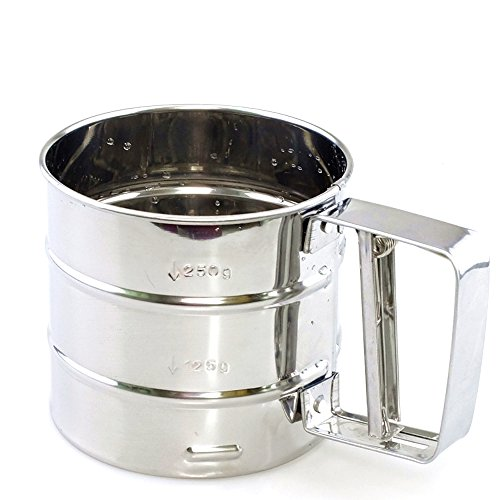 Measuring Flour Sifter - NPYPQ Baking Stainless Steel Shaker Sieve Cup Mesh Crank Flour Sifter with Measuring Scale Mark for Flour Icing Sugar