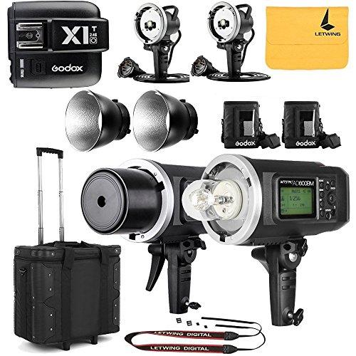 GODOX AD600BM Sync 1 / 8000s 2.4G 2Pcs Wireless Flash Speedlite,GODOX X1T-O,2X AD-H600B Head,2X PB-600 Bag,1X Carry Bag,2X 32'' 5-in-1 Reflector,1X LETWING Camera Neck Strap by Godox