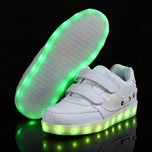 SAGUARO® Unisex niños USB Carga LED Luz Luminosas Flash Zapatos Zapatillas de Deporte para Los Reyes Magos Blanco 4
