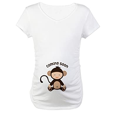15e38ff6a CafePress Baby Monkey Coming Soon Cotton Maternity T-shirt, Cute & Funny  Pregnancy Tee