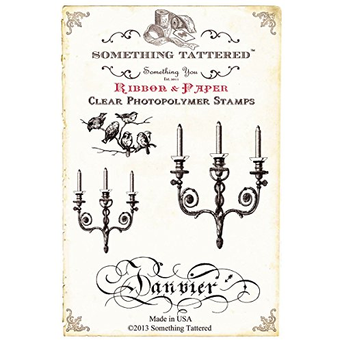 Bird Candelabra (Something Tattered January Janvier French Month Clear Stamps, 4 by 4-Inch)