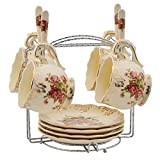 Red Rose Pattern Ivory Ceramic Tea Cups and Saucers with Spoon,Coffee Cups Set of 4 with Rack