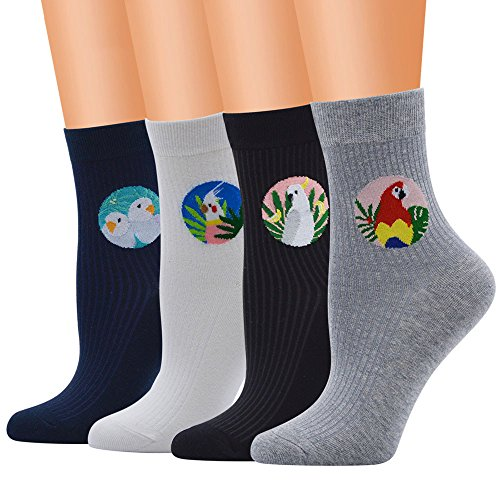 Women Socks Hot Sale WEUIE Women Cute Cotton Medium Bird Illustrations Pattern Lady Socks Tube Socks (Free Size,Black)