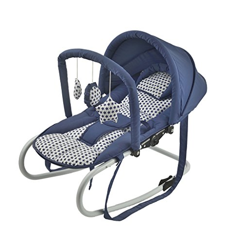 Qivor Baby Carriage Baby Rocking Chair Cradle Baby Comfort Chair Balance Type Lightweight Rocking Chair Cradle Bed Recliner (Color : Blue A)