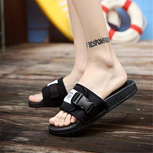 42 Colore spiaggia Comode da Dimensione Nero Scarpe pantofole Uomo Scarpe Wagsiyi In All'aperto Pantofole Superficie Da Pantofole Nere Modello Stoffa EU U6f4Z