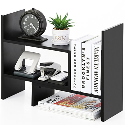 Desk Shelves Accessories Desktop - FITUEYES Desktop Organizer Office Storage Rack Adjustable Wood Display Shelf - Free Style Display True Natural Stand Shelf Rack Counter Top BookcasShelf Rack Counter Top Bookcase DT306801WB