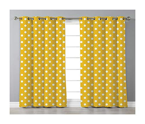 Goods247 Blackout Curtains,Grommets Panels Printed Curtains Living Room (Set of 2 Panels,52 63 Inch Length),Polka Dots -