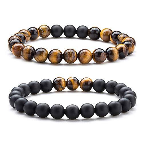 SUNSH 2PCS Black Agate Onyx Bracelet 8mm Stone Tiger Eye Beads Balancing Energy Stress Relief Stretch for Men Women