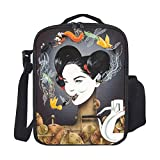 SARA NELL Kids Lunch Backpack Lunch Box Goth Gothic Women Girl Eat Insect Lunch Bag Large Lunch Boxes Cooler Meal Prep Lunch Tote With Shoulder Strap For Boys Girls Teens Women Adults