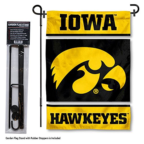 College Flags and Banners Co. Iowa Hawkeyes Garden Flag with Stand Holder