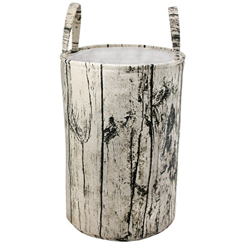Jacone Woodland Theme Tree Stump Shape Design Storage Basket Cotton Fabric Washable Cylindric Laundry Hamper with Strong Soft Handles, Decorative and Convenient for Kids Bedroom