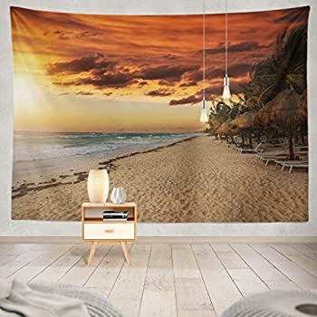 KJONG Golden Sunset Beach Mexico Beach Palm Sunset Tree Beautiful Blue Clouds Coast Destination Exotic Goldendecorative Tapestry,60X60 Inches Wall Hanging Tapestry for Bedroom Living Room