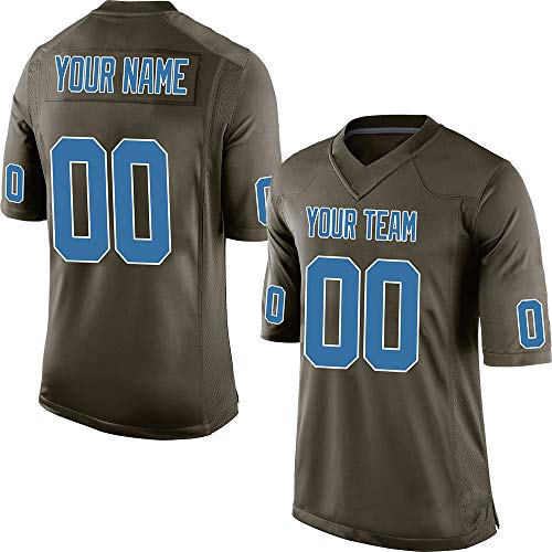 (Custom Youth Camo Green Salute to Service Football Jersey for Kids Swen Team Name and Your Numbers,Blue-White Size)