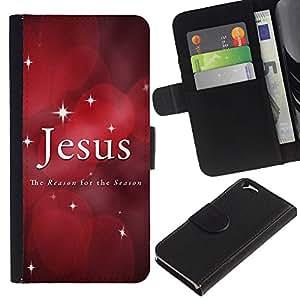 KingStore / Leather Etui en cuir / Apple Iphone 6 / Estrellas de Navidad Fe Red Cita;