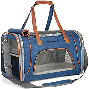 Airline Approved Soft Sided Pet Carrier by Mr. Peanut's, Low Profile Travel Tote with Fleece Bedding, Premium Zippers & Metal Safety Clasp, Under Seat Compatibility, Perfect for Cats and Small Dogs
