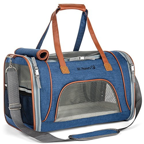 Mr. Peanut's Airline Approved Soft Sided Pet Carrier, Low Profile Travel Tote with Fleece Bedding, Premium Zippers & Safety Clasps, Under Seat Compatibility, Perfect for Cats and Small Dogs from Mr. Peanut's