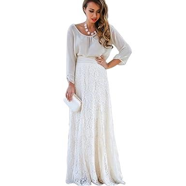 b8d3bfce2a65d BienBien Mujer Vestido de Playa Encaje Gancho Boheme Hippie Chic Jupon Maxi  Talla Alta basique Elegante