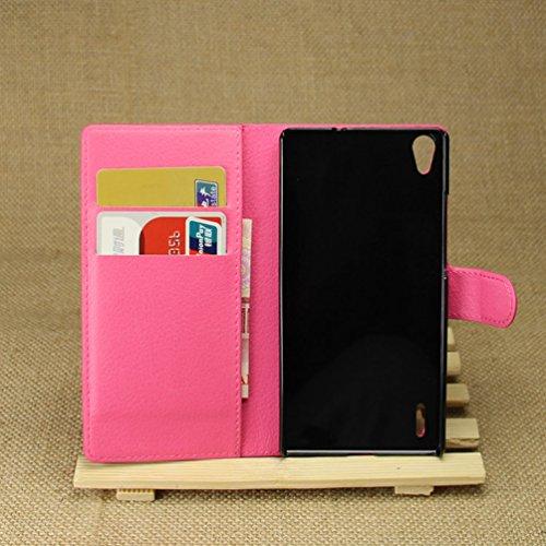 Manyip Funda Huawei P7,Caja del teléfono del cuero,Protector de Pantalla de Slim Case Estilo Billetera con Ranuras para Tarjetas, Soporte Plegable, Cierre Magnético(JFC5-13) F