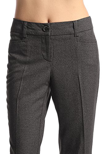 TheMogan Women's Plaid Check Boot Cut Flared Trouser Pants Black 1XL