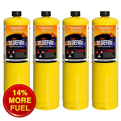 Pack of 4, BLUEFIRE Modern MAPP Gas Cylinder, 16.1 oz, 14% More Bonus Fuel than MAP/PRO, Hotter than Propane! Variation of Quantity Bundles Available (4)