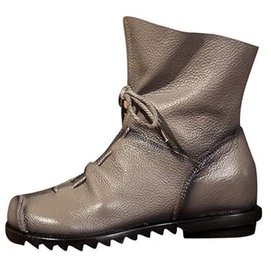 Rawdah Botas Mujer Invierno Botas de Mujer Zapatos Botines de Cuero Retro para  Mujer Botas de Cuero cálido Botas de tacón bajo Botas Martin Zapatos Mujer  ... a7e3c0a271029