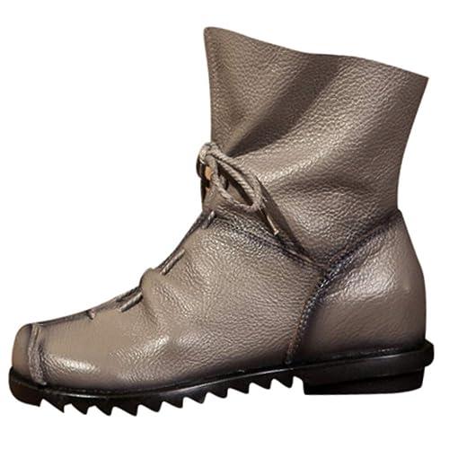 Rawdah Botas Mujer Invierno Botas de Mujer Zapatos Botines de Cuero Retro para Mujer Botas de Cuero cálido Botas de tacón bajo Botas Martin Zapatos Mujer ...