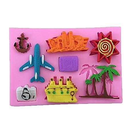 Cupcinu Molde de silicona para tartas de avión, árbol de coco, para tartas,