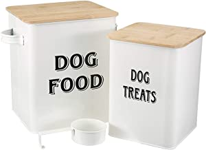 Morezi Pet Food and Treats Containers Set with Scoop for Cats or Dogs - Beige Powder - Coated Carbon Steel - Tight Fitting Lids - Storage Canister Tins