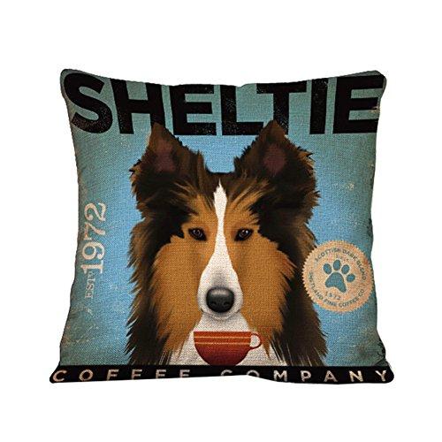 Monbedos Pet Dog Pattern Pillow Covers Linen Pillowcase 44 x 44cm Pillow Cover Without Pillow Pad Inner Insert Sheltie