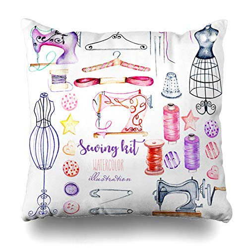 Ahawoso Throw Pillow Cover Retro Pink Atelier Watercolor Sewing Hand Purple Hanger Button Dress Dummy Design Decorative Pillow Case 16x16 Inches Square Home Decor Pillowcase