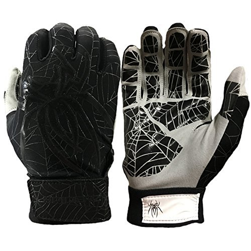 Spiderz LITE Batting Gloves with Enhanced Silicon Spider Web Grip (Black/Charcoal, Adult XX-Large)