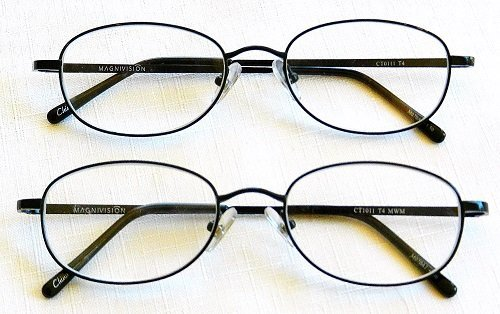 (+ BONUS) Magnivision +2.50 TITANIUM (T4) Black Oval Metal Wire Rim Reading GlaSSES + 1 FREE BONUS MICRO-SUEDE CLEANING CLOTH by Foster - Foster Mall City