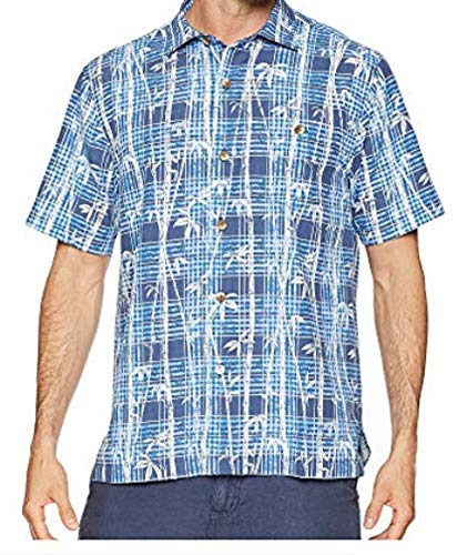 - Tommy Bahama Island Zone Bianco Bamboo Silk Blend Camp Shirt (Color: Ocean Deep, Size L)