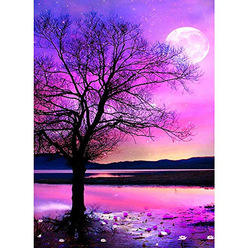 Gemstone Painting - DIY 5D Diamond Painting by Number Kits,Crystal Rhinestone Diamond Embroidery Paintings Pictures Arts Craft for Home Wall Decor,Full Drill,Big Tree Under Purple Sky,11.8x15.8in